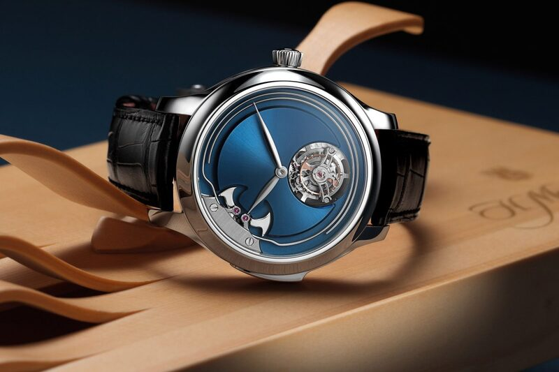 H. Moser & Cie. Endeavour Concept Minute Repeater Tourbillon, Now in Titanium with Electric Blue Dial
