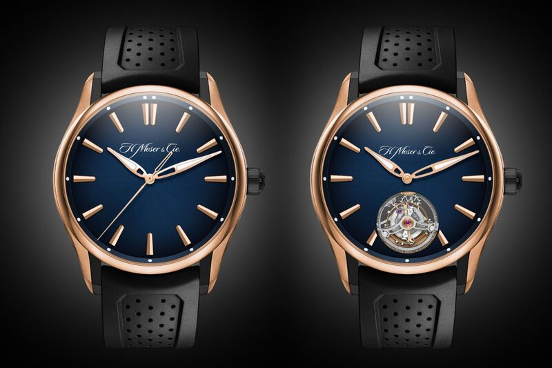 H. Moser & Cie. Pioneer Tourbillon and Centre Seconds with Red Gold/DLC Case and Blue Fumé Dial
