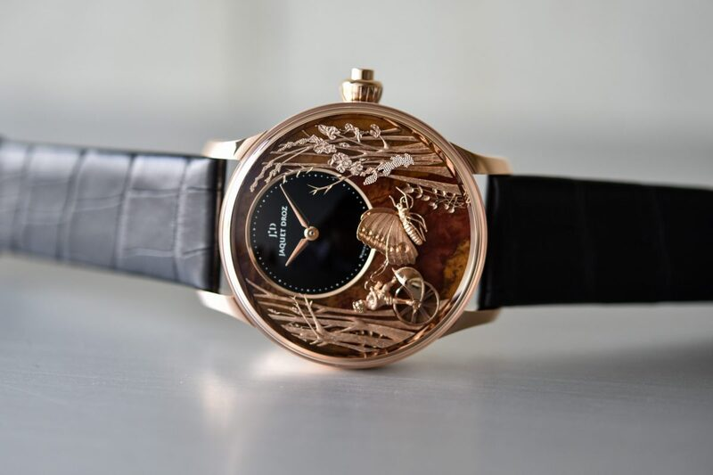 """Jaquet Droz Loving Butterfly Automaton, now with a Prehistoric Petrified """"Chinchilla Red"""" Dial"""
