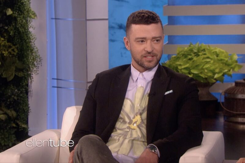 """Justin Timberlake with a Rolex Milgauss Z-Blue at """"The Ellen Show"""""""