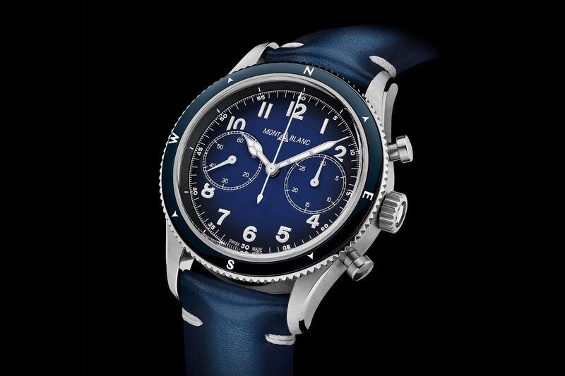 Montblanc 1858 Automatic Chronograph in Blue with Compass Bezel